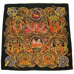 """Hermes Vintage Silk Carre Scarf """"La Charmante aux Animaux"""" by Annie Faivre"""