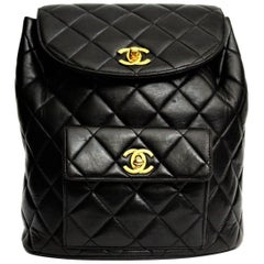 1990s Chanel Vintage Backpack Black Leather