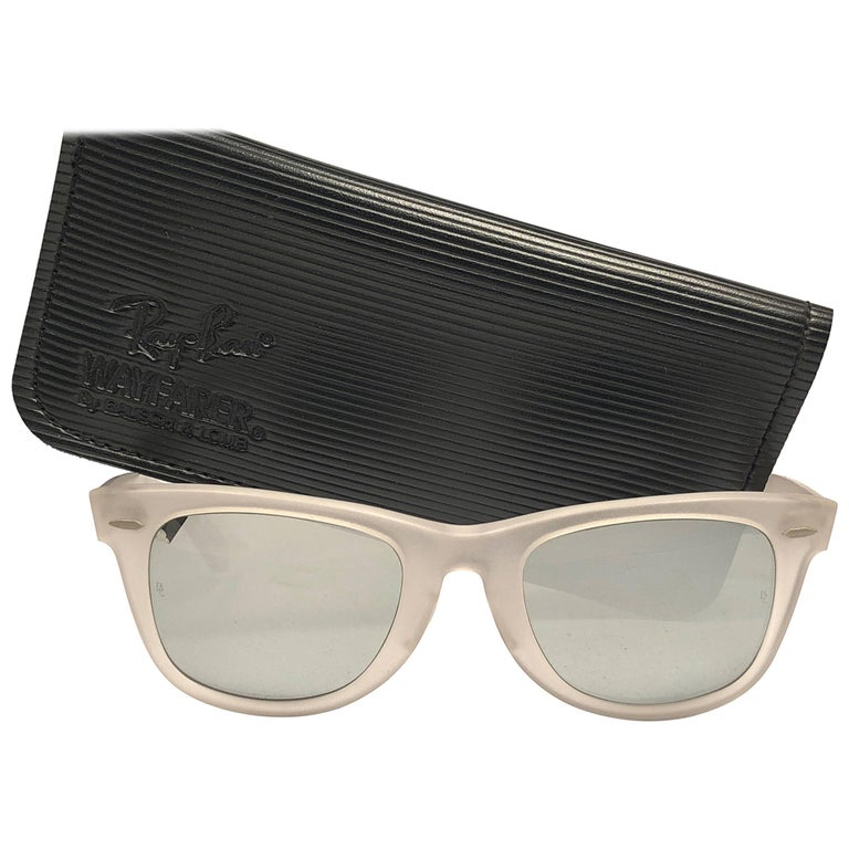 New Rare Ray Ban The Wayfarer Frosted B&L Full Mirror Lenses USA 80's Sunglasses