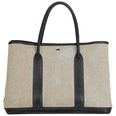 Hermes Negonda Leather Beige Canvas Garden Party 36cm