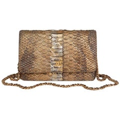 Chanel Metallic Grey and Gold Python Leather Wallet-On-Chain WOC