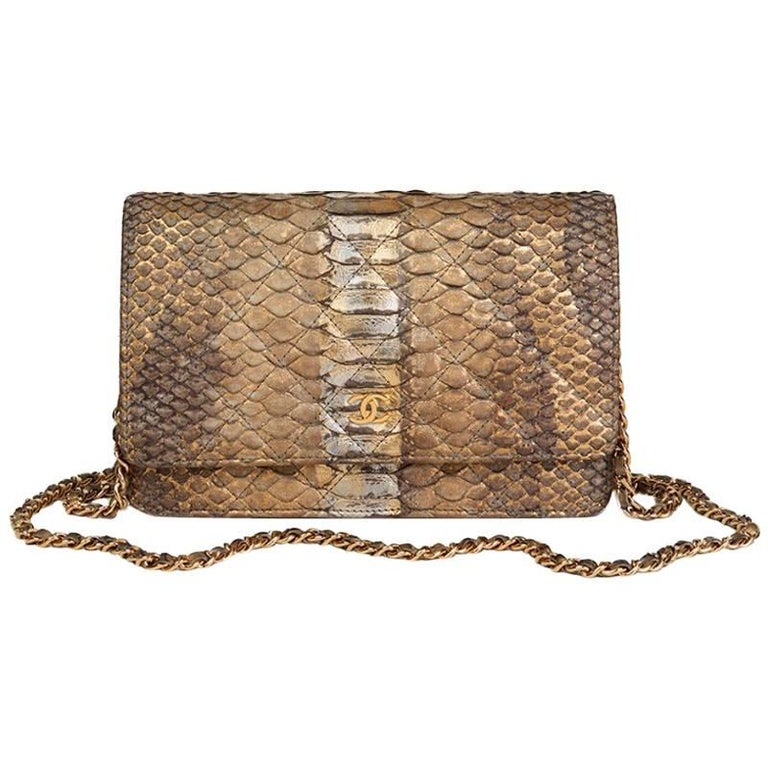 5a99c192b655 Chanel Metallic Grey and Gold Python Leather Wallet-On-Chain WOC For Sale