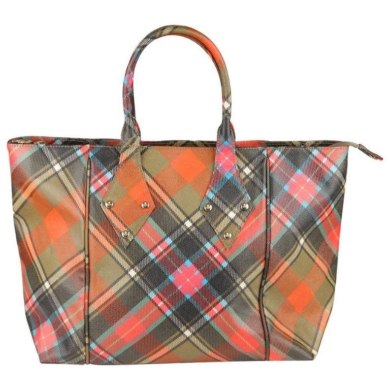 VIVIENNE WESTWOOD Multicolor Tartan Canvas Tote Bag