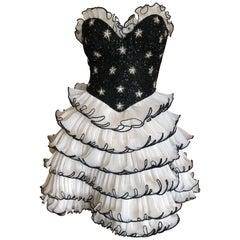 Bob Mackie 1980's Beaded Starburst Bustier Ballerina Style Ruffle Cocktail Dress