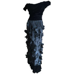 Moschino Vintage Evening Dress with Floral Applique Ball Skirt Size 48 NWT