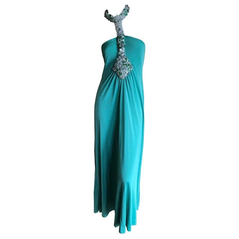 Loris Azzaro Couture Green Jersey Evening Dress with Jewel Collar, 1970s