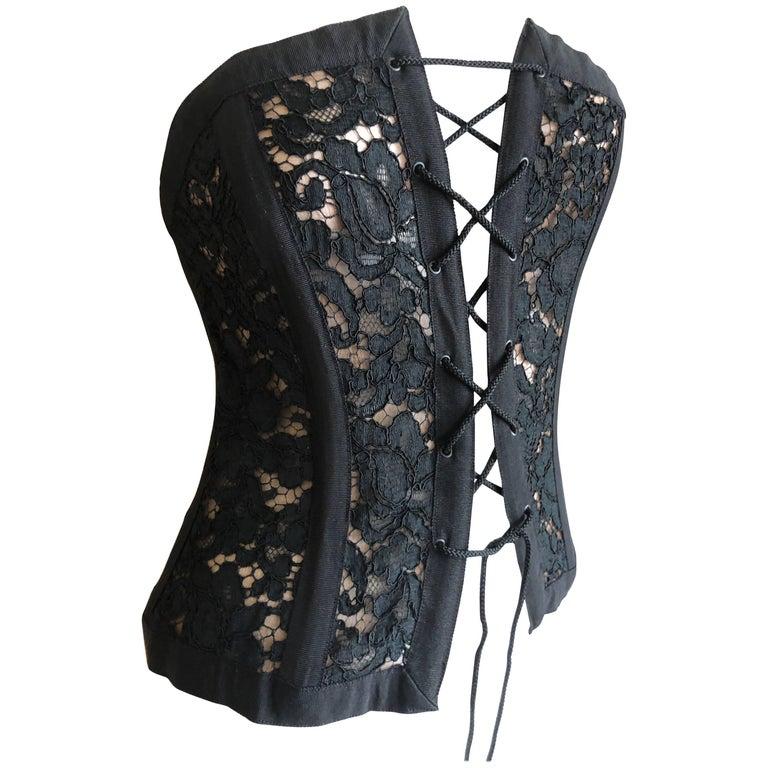 Yves Saint Laurent 70's Rive Gauche Black Lace Corset Lace Up Top