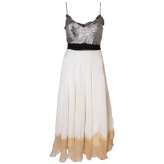 A Vintage 1990s silk chiffon and beaded party dress by Chloe