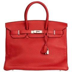 Hermes Garance Fjord Rouge Leather Birkin 35cm
