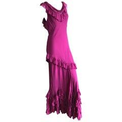 John Galliano Raspberry Sheer Vintage Silk Ruffled Evening Dress with Cowl Back