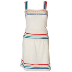 A Vintage 1960s rainbow knitted two piece a skirt and top