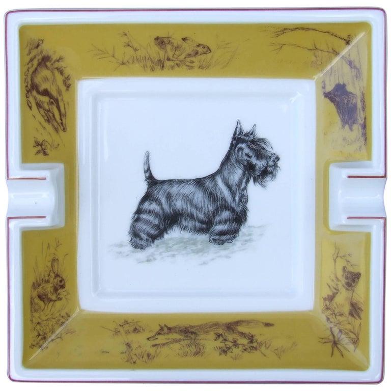 Hermès Small Printed Porcelain Cigar Ashtray Change Tray Scottish Terrier Dog