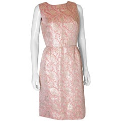 A Vintage 1950s pale metallic brocade Cocktail Dress