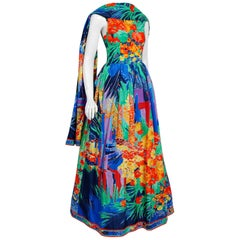 1992 Leonard Paris Watercolor Floral Print Silk Taffeta Capelet Full-Skirt Gown
