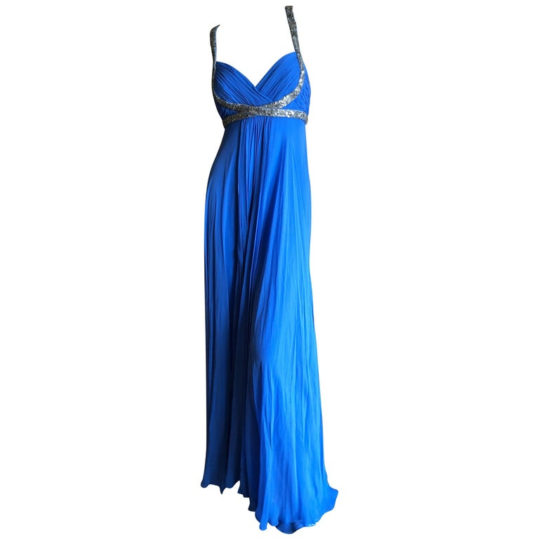 978cf00b Marchesa Notte Silver Sequin Accented Blue Grecian Gown For Sale at ...