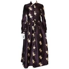 Vintage Star Print Shirt Dress