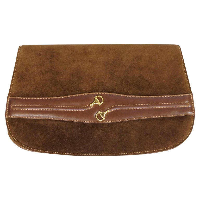 Iconic 1970s Gucci Brown Italian Suede and Leather Clutch