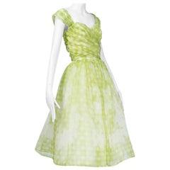 Sleeved or Strapless Lime Gingham Party Dress, 1950s