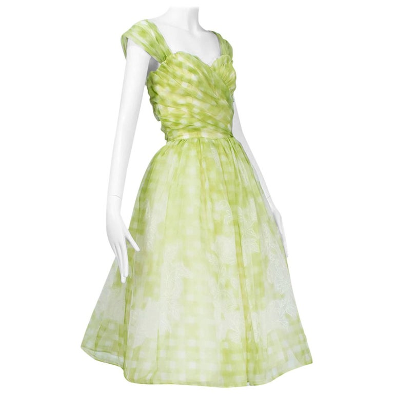 b75a1caf603 Sleeved or Strapless Lime Gingham Party Dress