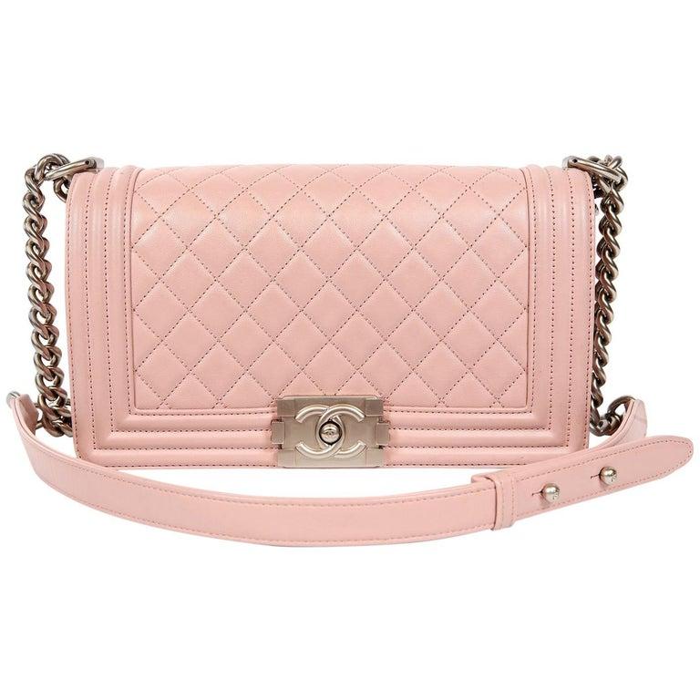 0bd31f7752c4 Chanel Blush Pink Leather Medium Boy Bag at 1stdibs