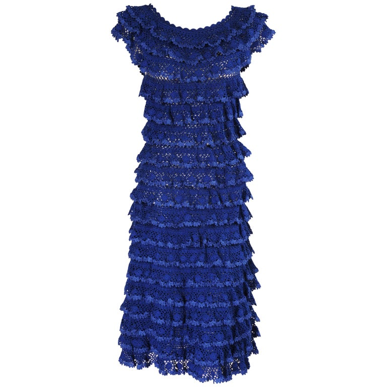 Oscar de la Renta Hand Knit French Blue Ruffled Dress