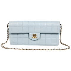 Chanel Powder Blue Leather East West Flap Bag