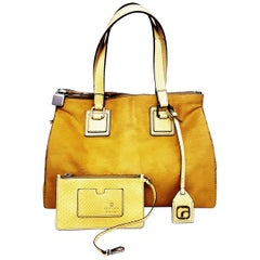 Love Alex Neon Yellow Pony Hair & Python Large Multi Pocket Tote Bag