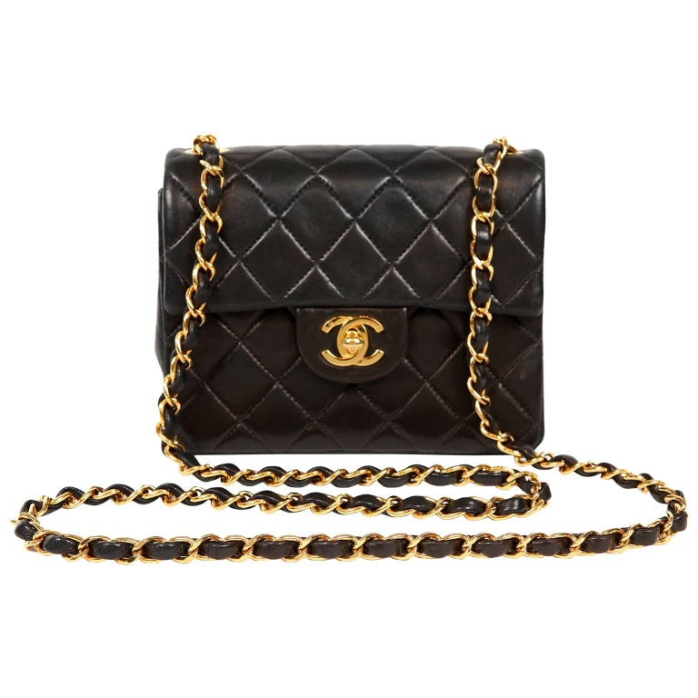70cf2d21c1f6 Chanel Black Lambskin Mini Classic Flap Bag at 1stdibs