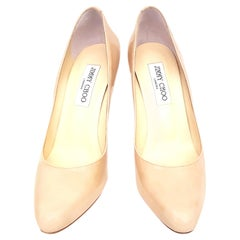 Jimmy Choo Beige Patent Leather Rounded Toe Pumps