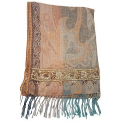 Saachi Silk & Wool in Peach and Turquoise Sequined Paisley Print Shawl