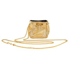 Chanel Gold Leather Mini Pouchette