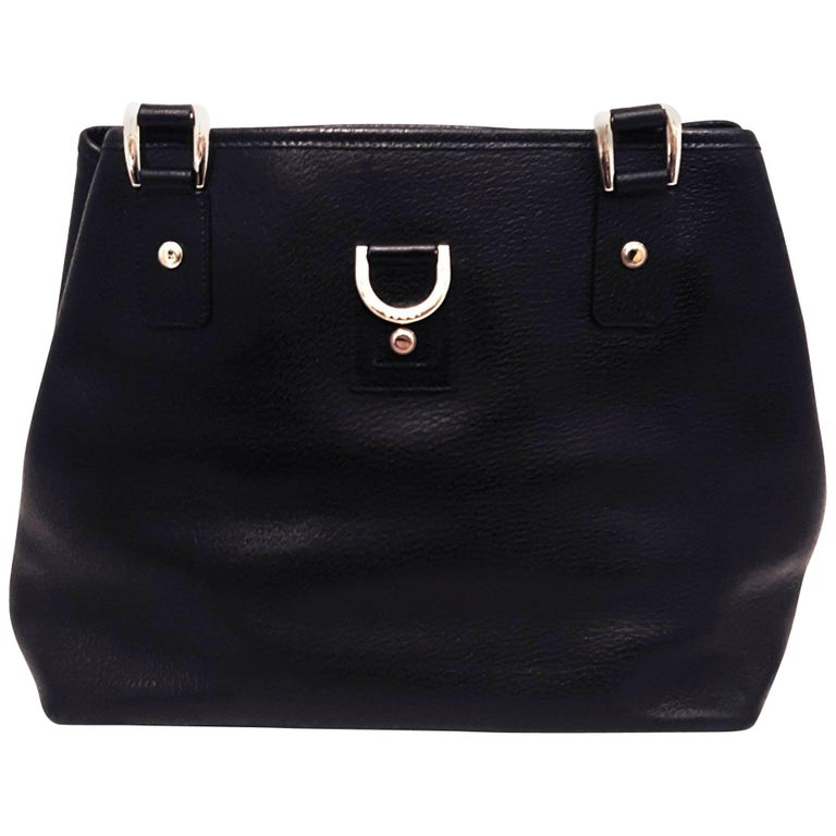 Gucci Black Top Handle Leather Shoulder Bag with Gold Tone Hardware