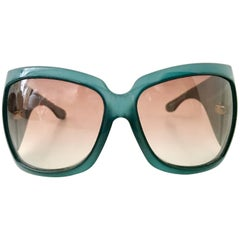 2007 Gucci Teal Oversized Logo Sunglasses-Italy