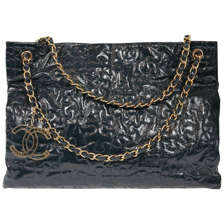 Chanel Navy Blue Patent Puzzle Tote Bag