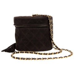 Chanel Black Suede Vintage Oval Tassel Bag