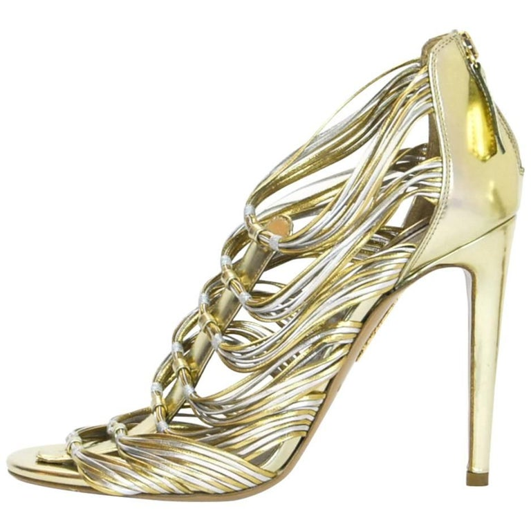 Aquazzura Gold & Silver Xena 105 Sandals Sz 37 NEW