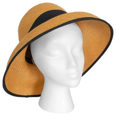 Natural Straw Bucket Sun Hat with Black Grosgrain Trim, 1960s