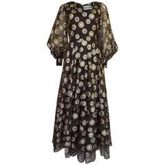 1960s Mr Blackwell Gold Metallic Lurex Dot Organza Dress