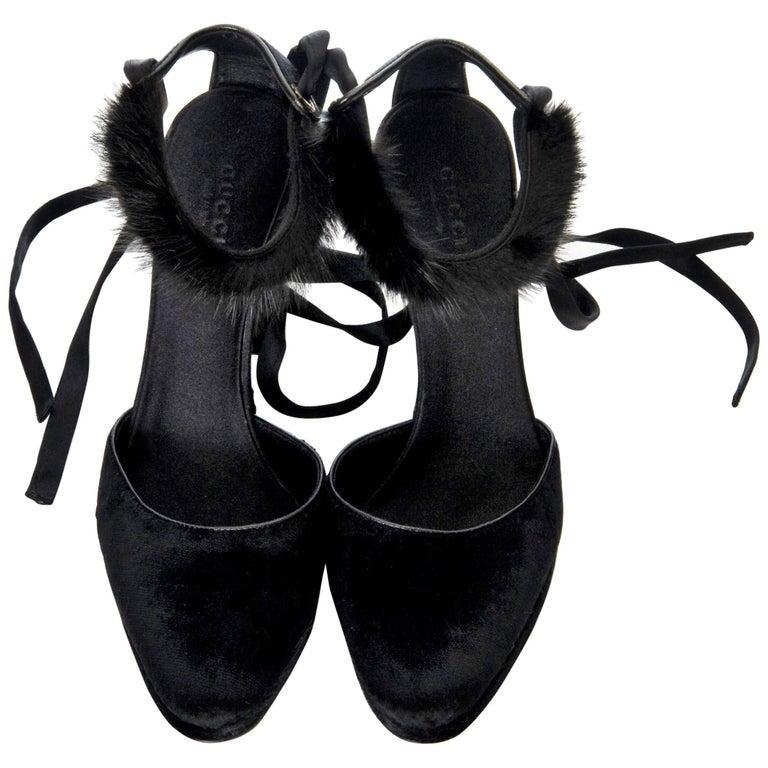 New Tom Ford For Gucci Mink Python Velvet Satin Final Collection Heels Size: 9
