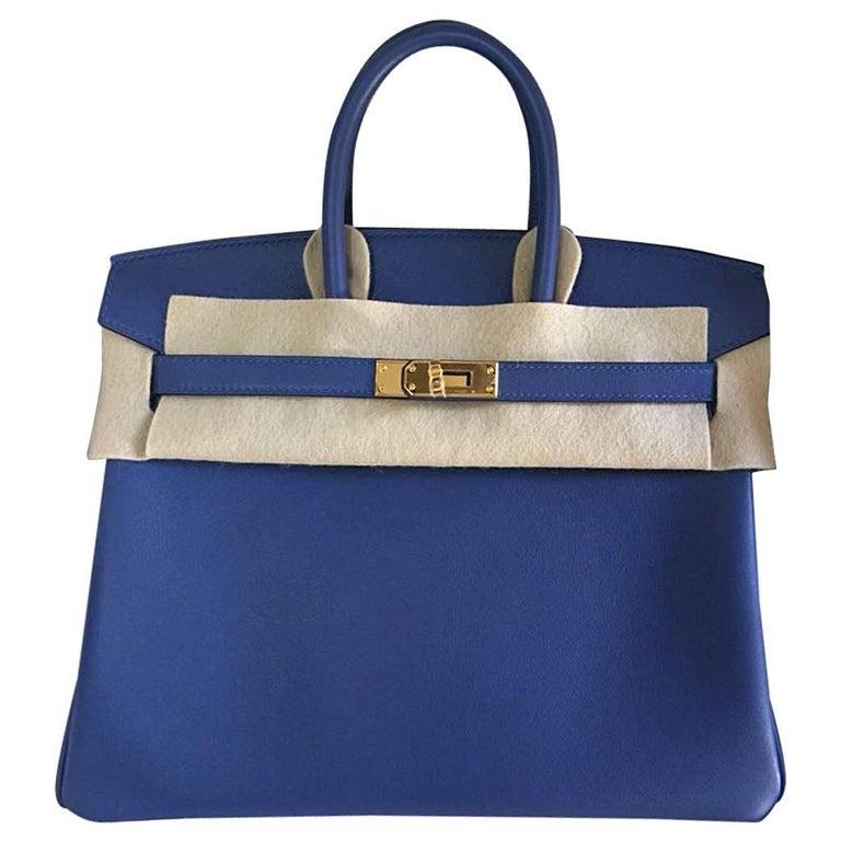 Hermes Handbag Birkin 25 Blue Brighton Swift Gold Hardware
