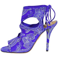 Aquazzura Blue Paisley Sexy Thing Ankle Booties Sz 39 NEW