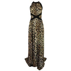 Balmain Full Length Leopard Silk Jersey Backless Halter Dress, Fall 2014