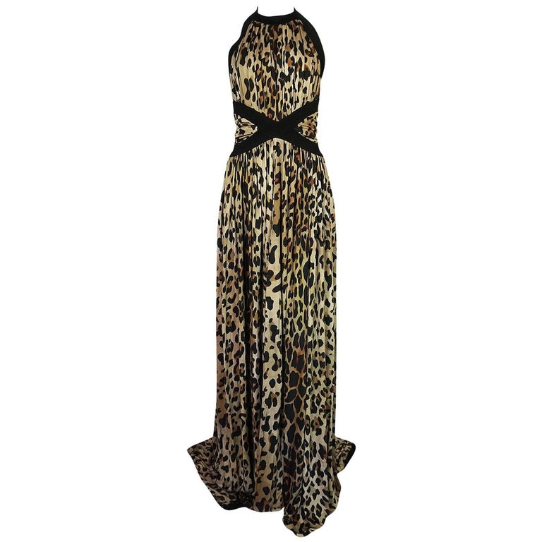 Balmain Full Length Leopard Silk Jersey Backless Halter Dress, Fall 2014