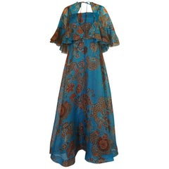 1960s Hardy Amies Printed Blue Silk Voile Dress & Matching Capelet