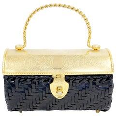 1950s Marcus Brothers Basket Weave Handbag w/ Floral Etched Gold Lid
