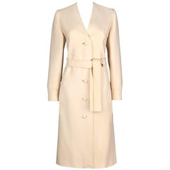 Boutique VALENTINO c.1960's Off White Wool Belted Mod V Neck Coat Dress RARE