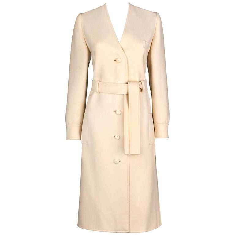 Boutique VALENTINO c.1960's Off White Wool Belted Mod V Neck Coat Dress RARE