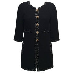 Chanel Black Tweed Coat W/ Braided Trim, Pearl and Black Enamel Buttons Sz36/Us4