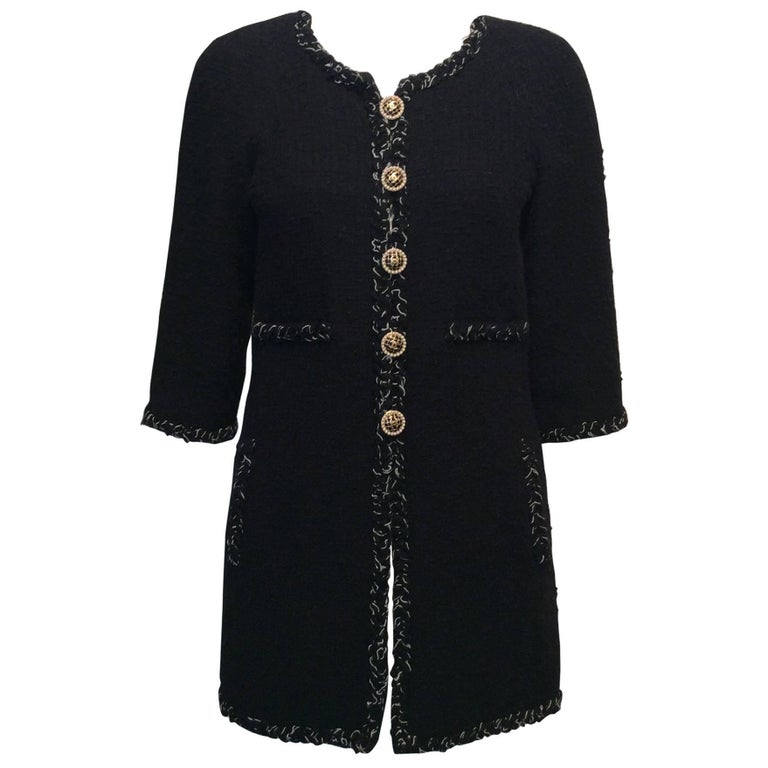 Chanel Black Tweed Coat W/ Braided Trim, Pearl and Black Enamel Buttons Sz36/Us4