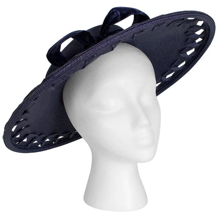 Navy Capeline Extra Wide Brimmed Sun Hat with Windowpane Voids, 1950s For Sale